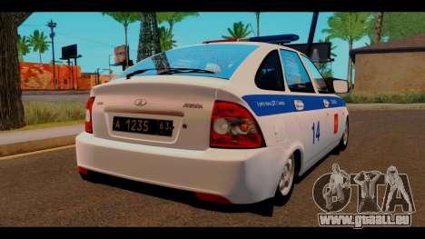 VAZ 2172 Police pour GTA San Andreas sur la vue arrière gauche