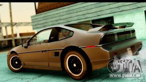 Pontiac Fiero GT G97 1985 HQLM pour GTA San Andreas sur la vue arrière gauche
