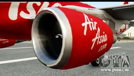Airbus A320-200 Indonesia AirAsia pour GTA San Andreas sur la vue arrière gauche