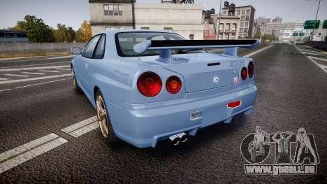 Nissan Skyline R34 GT-R V.specII 2002 für GTA 4 hinten links Ansicht