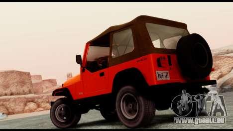 Jeep Wrangler für GTA San Andreas linke Ansicht