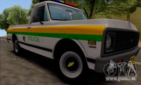 Chevrolet C10 1972 Policia pour GTA San Andreas sur la vue arrière gauche