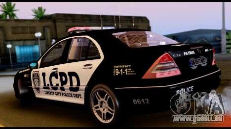 Mercedes-Benz C32 AMG Police pour GTA San Andreas vue de droite
