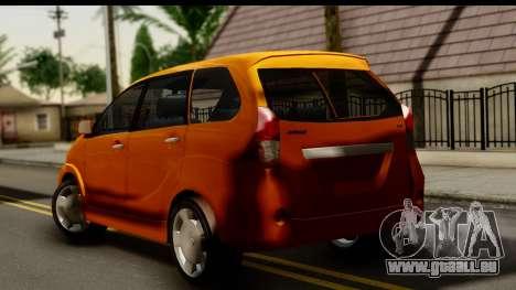 Toyota Avanza Veloz 2012 pour GTA San Andreas laissé vue
