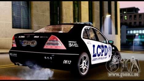 Mercedes-Benz C32 AMG Police für GTA San Andreas zurück linke Ansicht