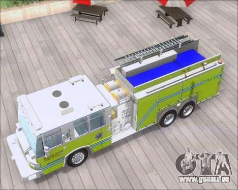 Pierce Quantum Miami Dade FD Tanker 6 pour GTA San Andreas vue arrière