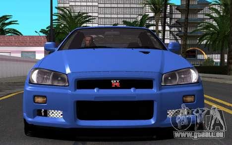 Nissan Skyline GT-R V Spec II 2002 für GTA San Andreas obere Ansicht