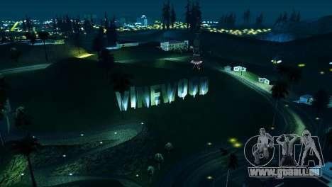 Rétro-éclairé étiquettes Vinewood pour GTA San Andreas troisième écran
