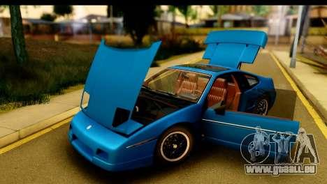 Pontiac Fiero GT G97 1985 HQLM pour GTA San Andreas vue arrière