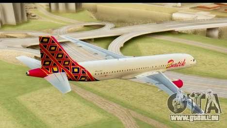 Airbus A320 Batik Air pour GTA San Andreas laissé vue