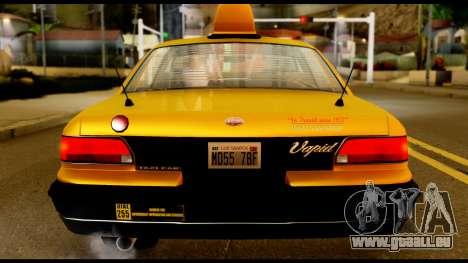 GTA 4 Vapid Stanier Downtown Cab für GTA San Andreas Rückansicht
