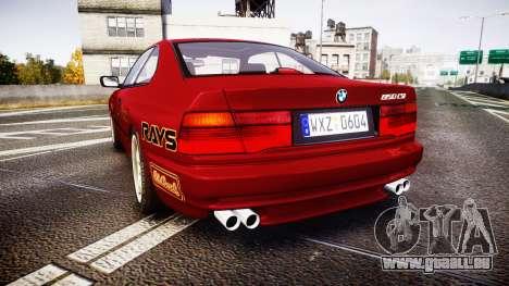 BMW E31 850CSi 1995 [EPM] Castrol Red pour GTA 4 Vue arrière de la gauche