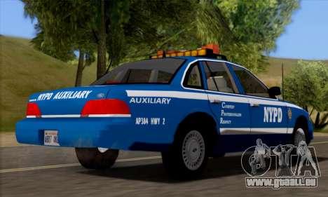 Ford Crown Victoria NYPD  Mazarine pour GTA San Andreas sur la vue arrière gauche