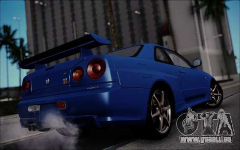 Nissan Skyline GT-R V Spec II 2002 für GTA San Andreas zurück linke Ansicht