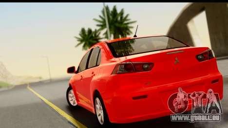 Mitsubishi Lancer X Stock pour GTA San Andreas laissé vue