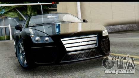GTA 5 Obey 9F Cabrio SA Mobile pour GTA San Andreas sur la vue arrière gauche