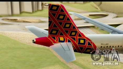 Airbus A320 Batik Air pour GTA San Andreas sur la vue arrière gauche