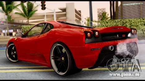 Ferrari F430 Scuderia für GTA San Andreas rechten Ansicht