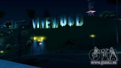 Rétro-éclairé étiquettes Vinewood pour GTA San Andreas deuxième écran