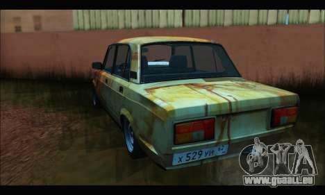 VAZ 2107 Rouillé pour GTA San Andreas sur la vue arrière gauche