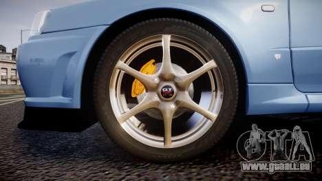 Nissan Skyline R34 GT-R V.specII 2002 für GTA 4 Rückansicht