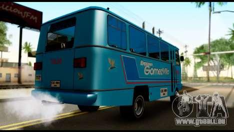 Chevrolet Bus pour GTA San Andreas sur la vue arrière gauche