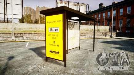 La publicité de Windows 95, au niveau des arrêts de bus pour GTA 4
