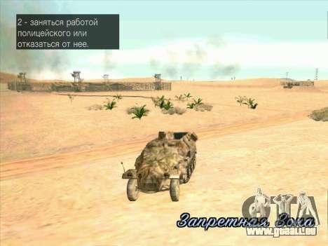 Sd Kfz 251 Camouflage Desert pour GTA San Andreas vue intérieure