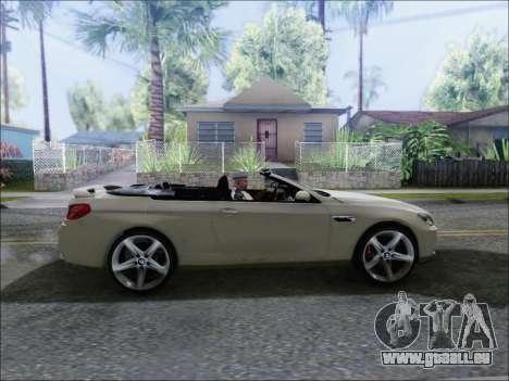 BMW M6 Cabriolet 2012 pour GTA San Andreas sur la vue arrière gauche