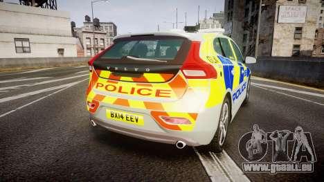 Volvo V40 Metropolitan Police [ELS] pour GTA 4 Vue arrière de la gauche