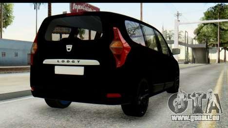 Dacia Lodgy pour GTA San Andreas laissé vue