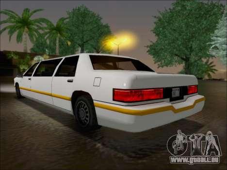 Elegant Limousine pour GTA San Andreas sur la vue arrière gauche