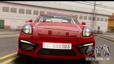 Porsche Cayman GT4 981c 2016 EU Plate für GTA San Andreas rechten Ansicht