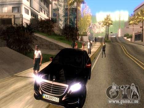 Mercedes-Benz Long S65 W222  Black loaf für GTA San Andreas Rückansicht