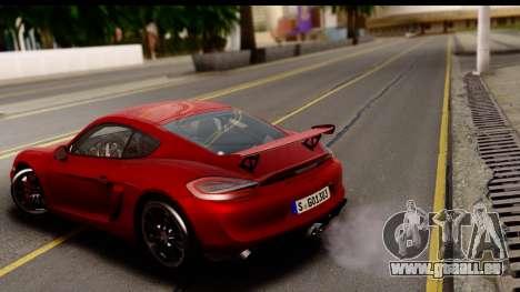 Porsche Cayman GT4 981c 2016 EU Plate für GTA San Andreas zurück linke Ansicht