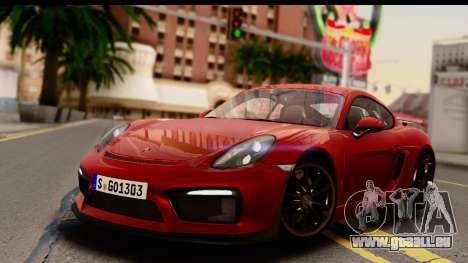 Porsche Cayman GT4 981c 2016 EU Plate pour GTA San Andreas
