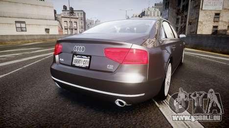 Audi A8 L 4.2 FSI quattro pour GTA 4 Vue arrière de la gauche