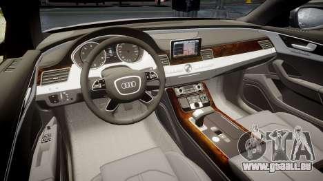 Audi A8 L 4.2 FSI quattro pour GTA 4 est une vue de l'intérieur
