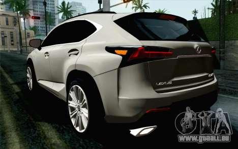 Lexus NX 200T v5 pour GTA San Andreas laissé vue