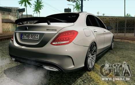 Mercedes-Benz C250 AMG Brabus Biturbo Edition EU pour GTA San Andreas laissé vue