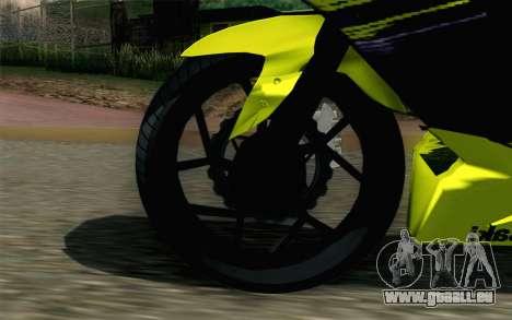 Kawasaki Ninja 250RR Mono Yellow für GTA San Andreas zurück linke Ansicht