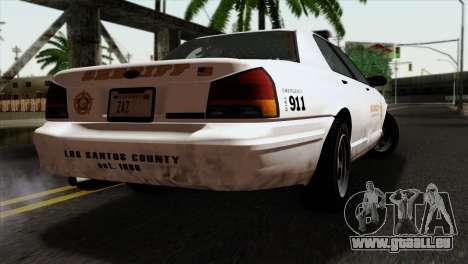 GTA 5 Vapid Stanier Sheriff pour GTA San Andreas laissé vue