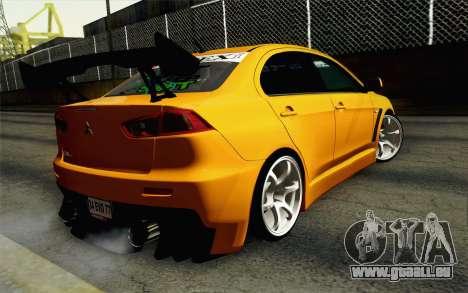 Mitsubishi Lancer Evolution X v2 pour GTA San Andreas laissé vue