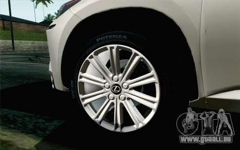 Lexus NX 200T v5 pour GTA San Andreas sur la vue arrière gauche