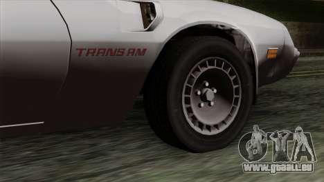 Pontiac Trans AM für GTA San Andreas zurück linke Ansicht
