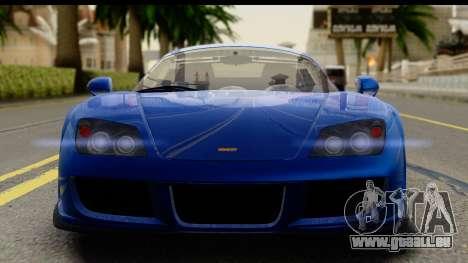 Noble M600 2010 FIV АПП pour GTA San Andreas sur la vue arrière gauche