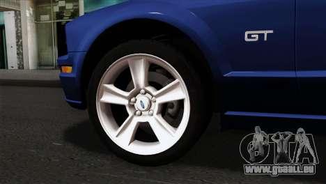 Ford Mustang GT PJ Wheels 1 pour GTA San Andreas sur la vue arrière gauche