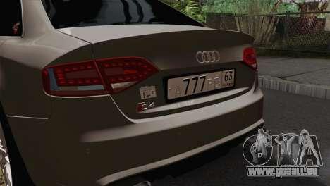 Audi S4 Sedan 2010 für GTA San Andreas Rückansicht