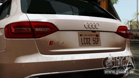 Audi RS4 Avant B8 2013 v3.0 pour GTA San Andreas vue arrière