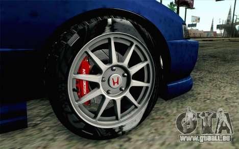 Honda Integra Type R 2000 Stock pour GTA San Andreas sur la vue arrière gauche